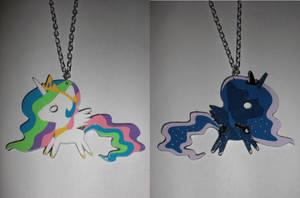 Celestia and Luna Reversible Paper Pendant (v2) by Bunnygirl2190