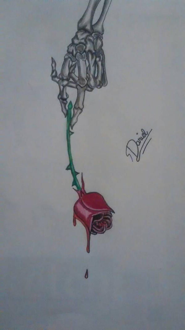 Skeleton hand holding a rose by dedicatedvenom on deviantart for Hand holding a rose drawing