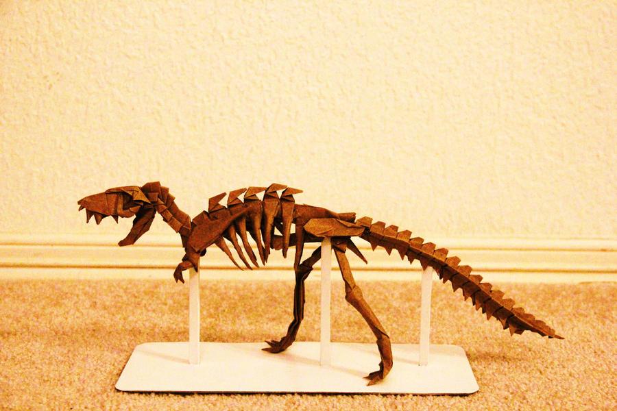 origami tyrannosaurus rex skeleton by kennyquan on deviantart
