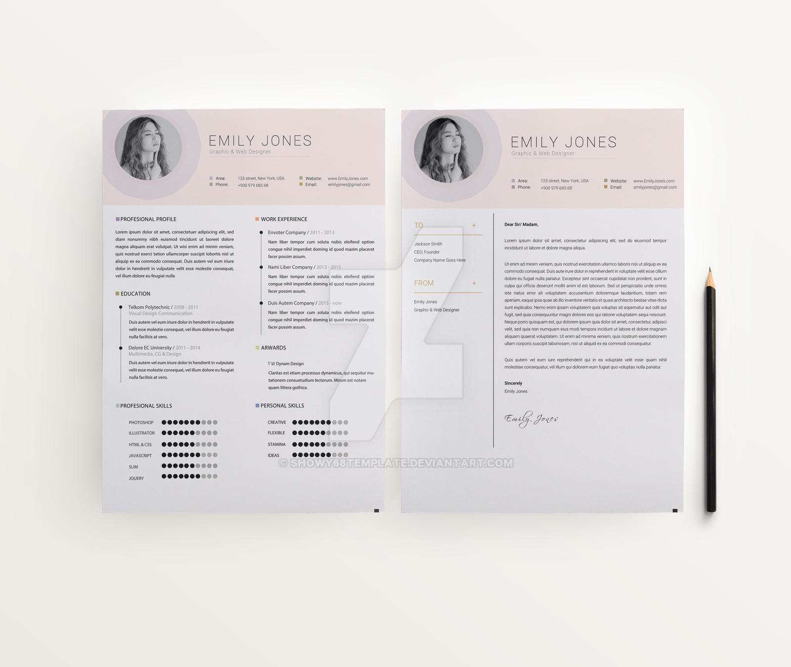 colors resume template    cover letter template by