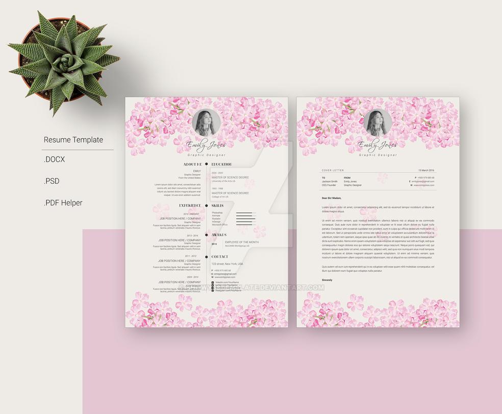 flower watercolor resume template  cv