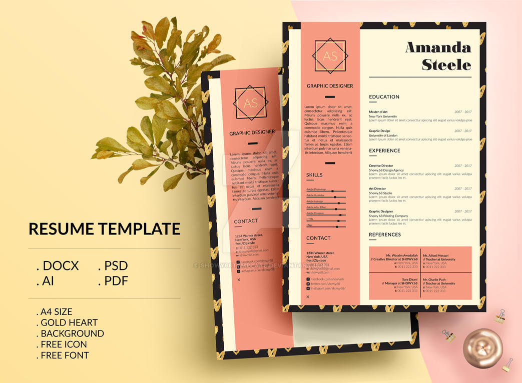 gold heart resume template    cv template   letterhe by