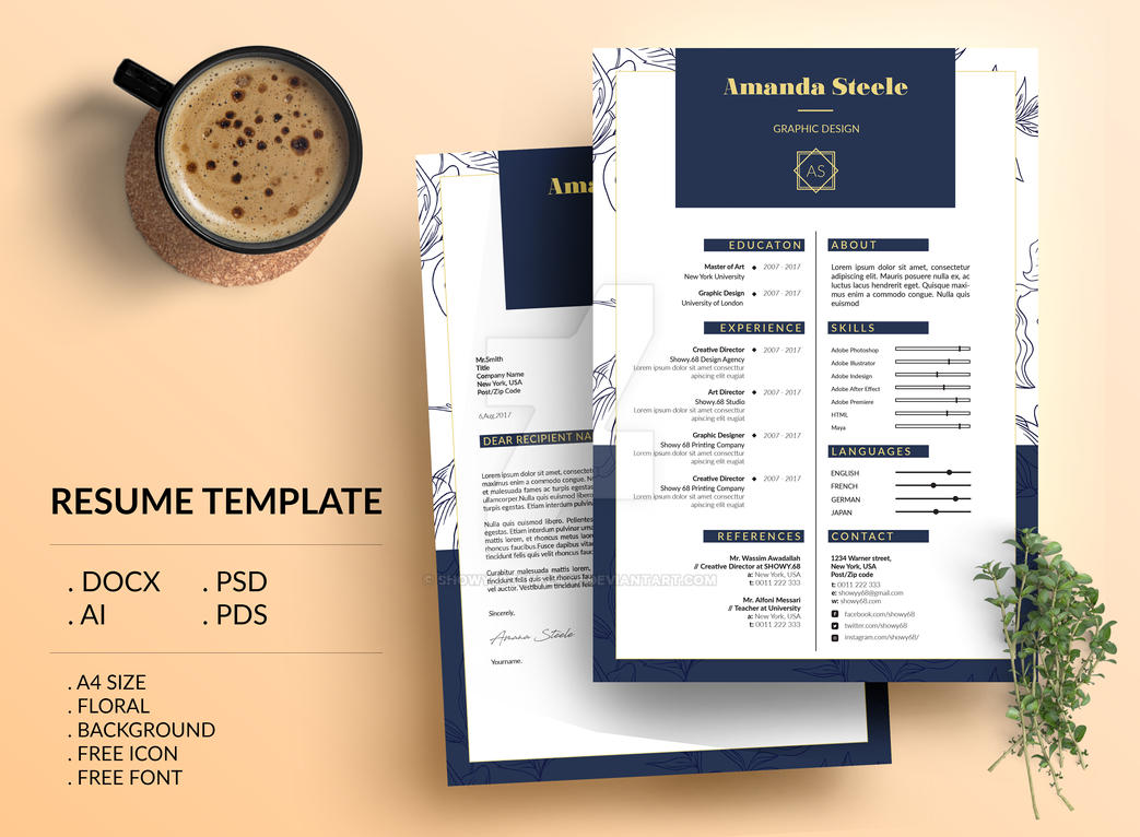 floral resume template    cv template   letterhead by