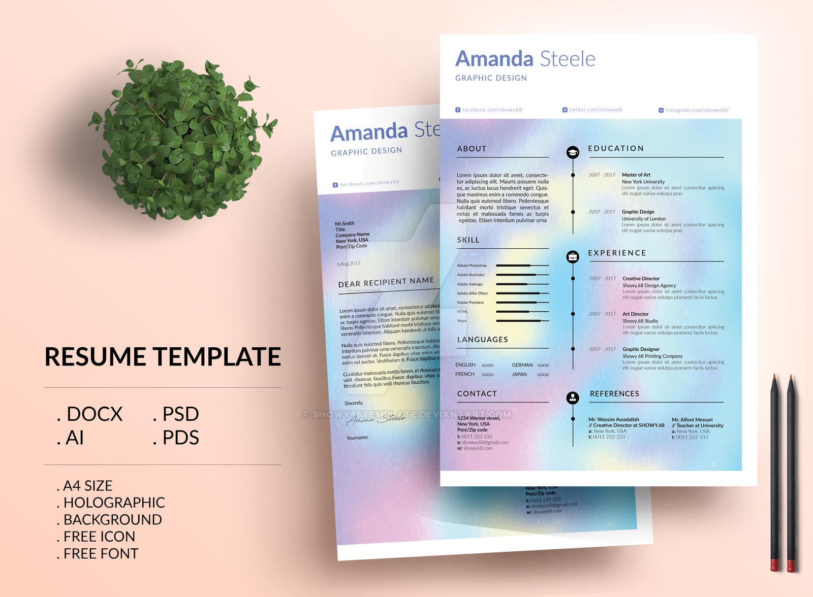Holographic Resume Template  Cv Template By ShowyTemplate On