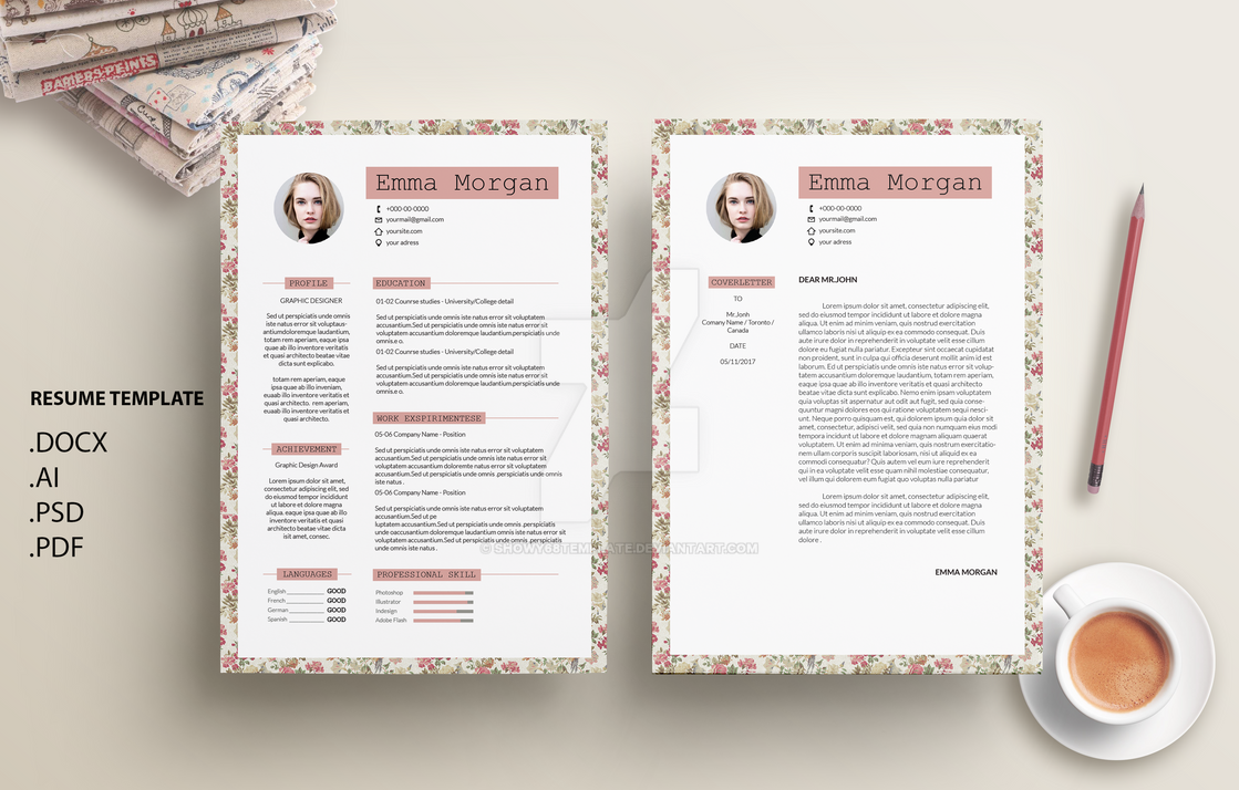 vintage floral flower resume template by showy68template - Vintage Resume Template