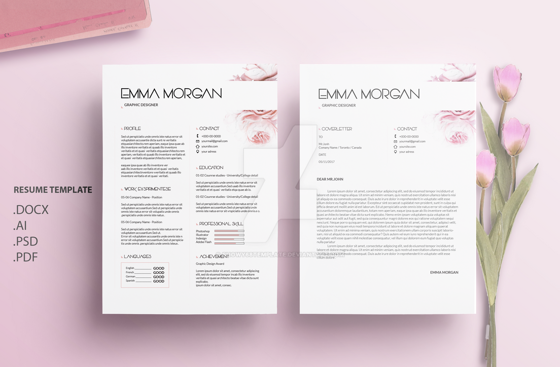 oil paint flower resume template    cv template by