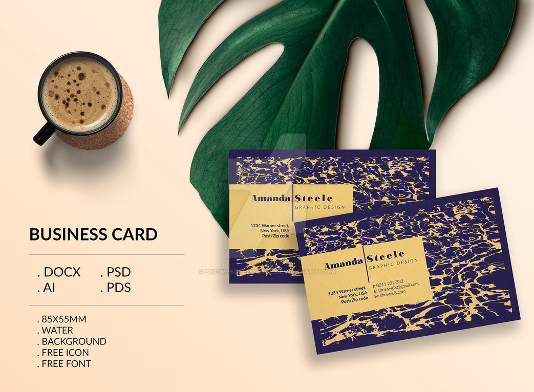 water business card template    creative    card des by
