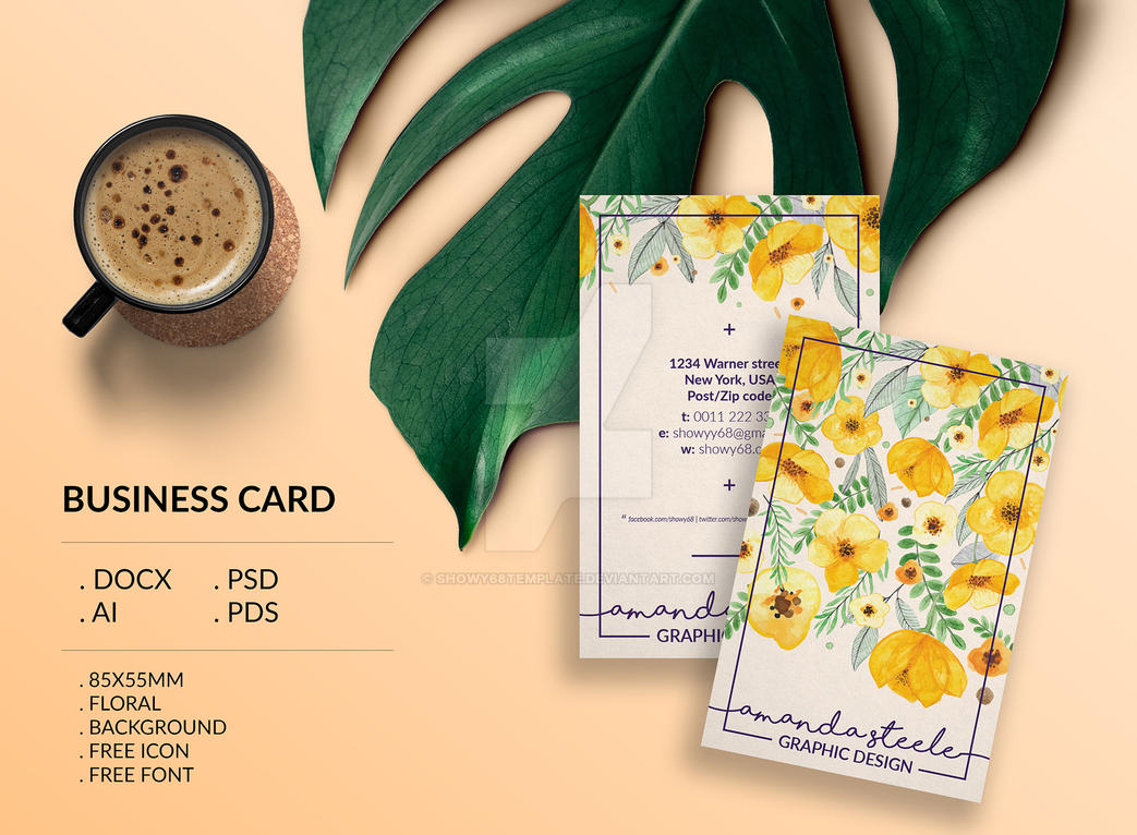 Floral business card template / creative by Showy68Template on ...