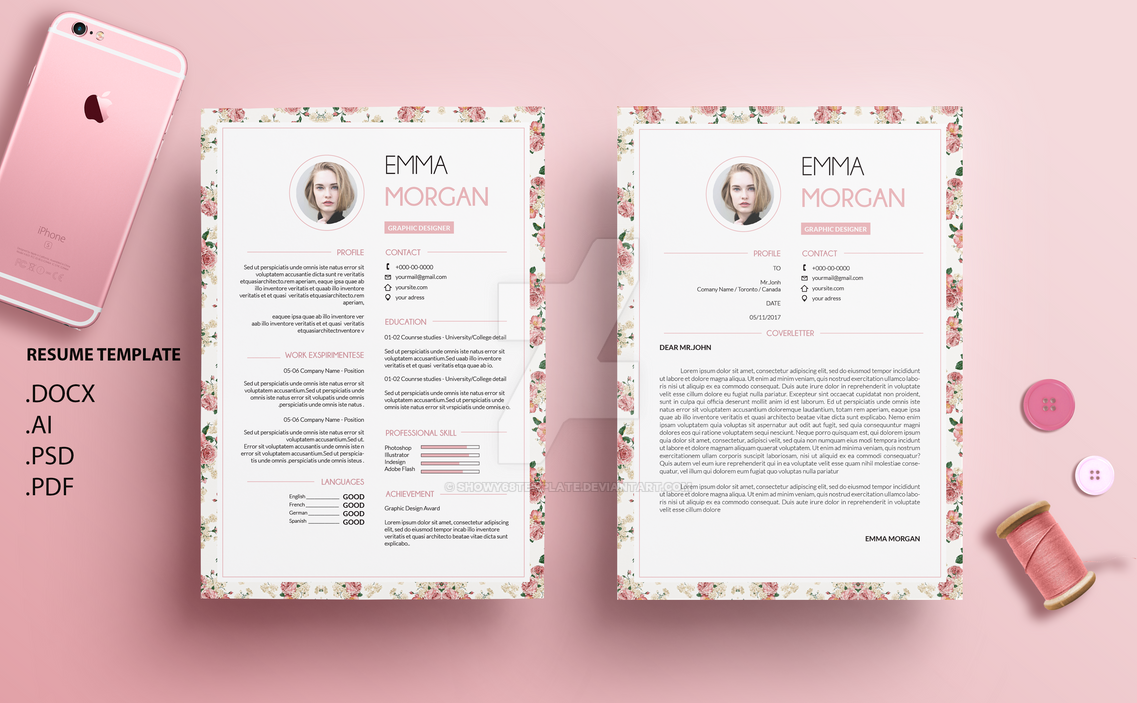 Vintange Floral Ver 2 Resume Template By Showy68Template