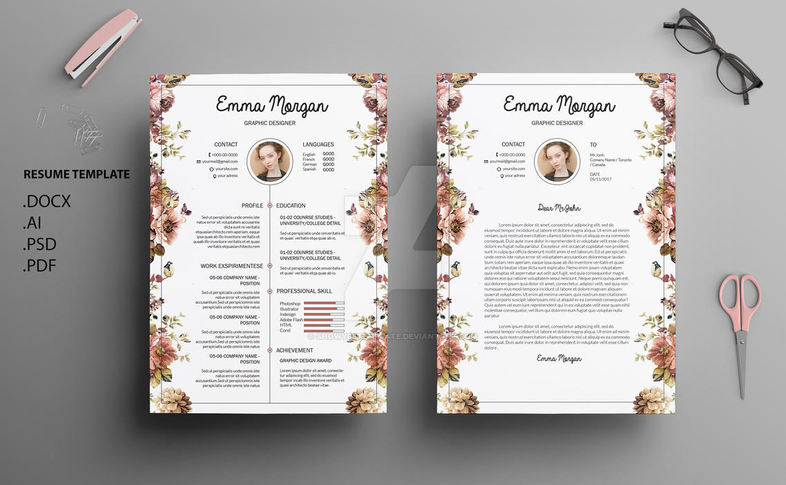 Floral Side Resume Template CV Cover Letter By Showy68Template