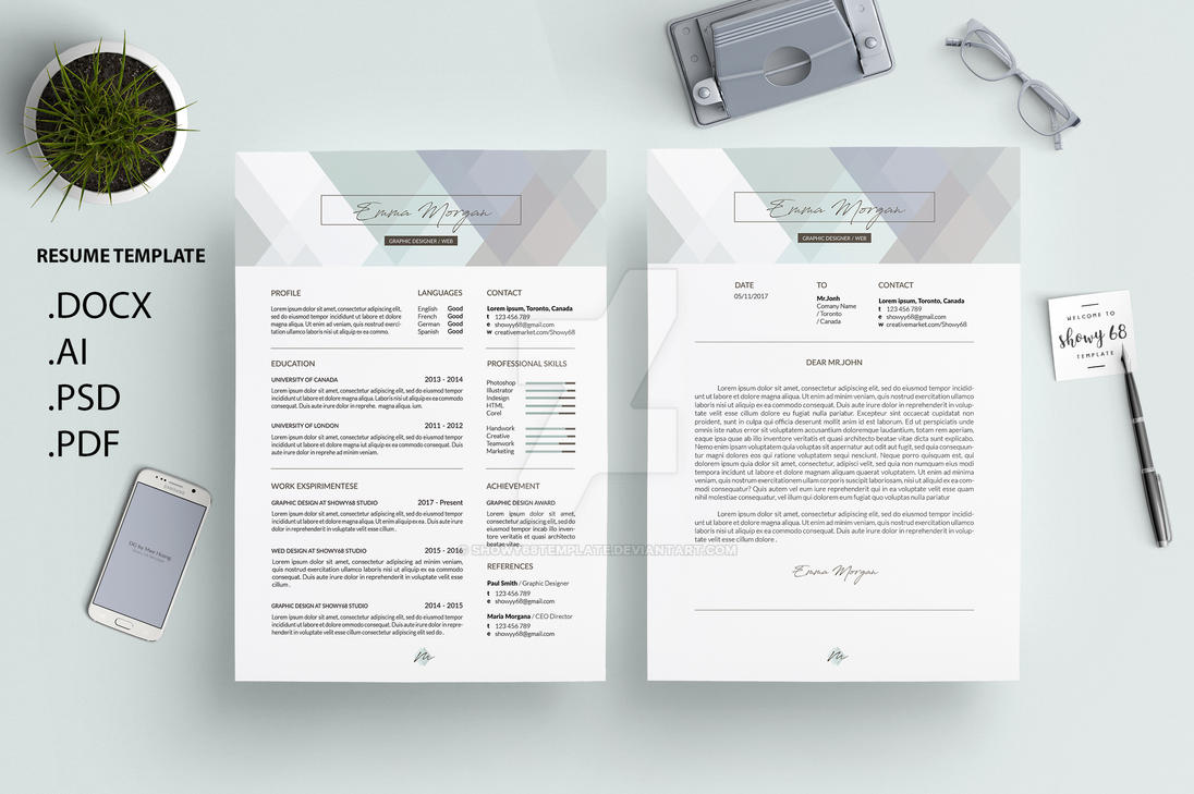 crystal pastel resume template  cv
