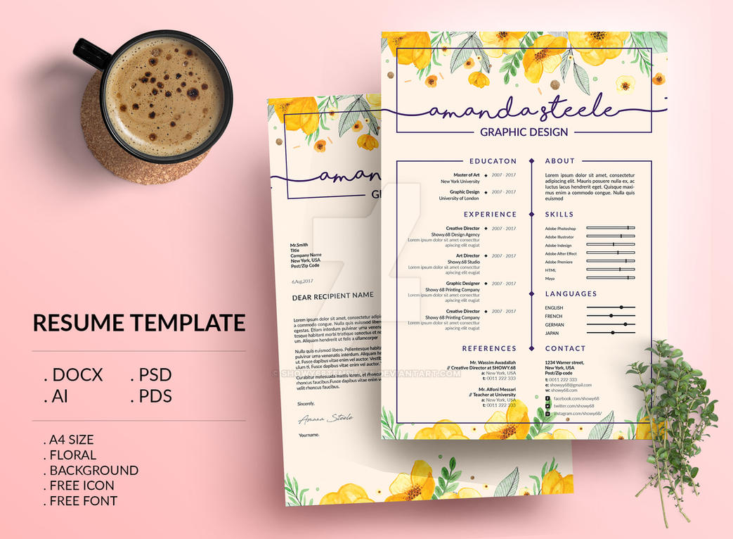 Floral Resume Template CV Letterhead By Showy68Template