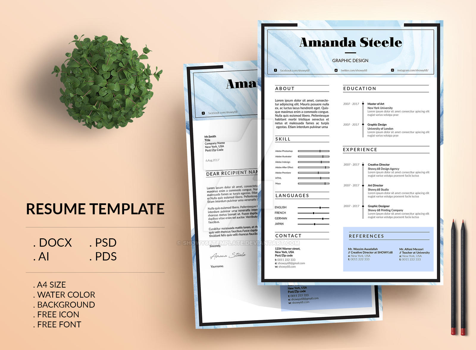Water Color Resume Template Cv Template Letter By