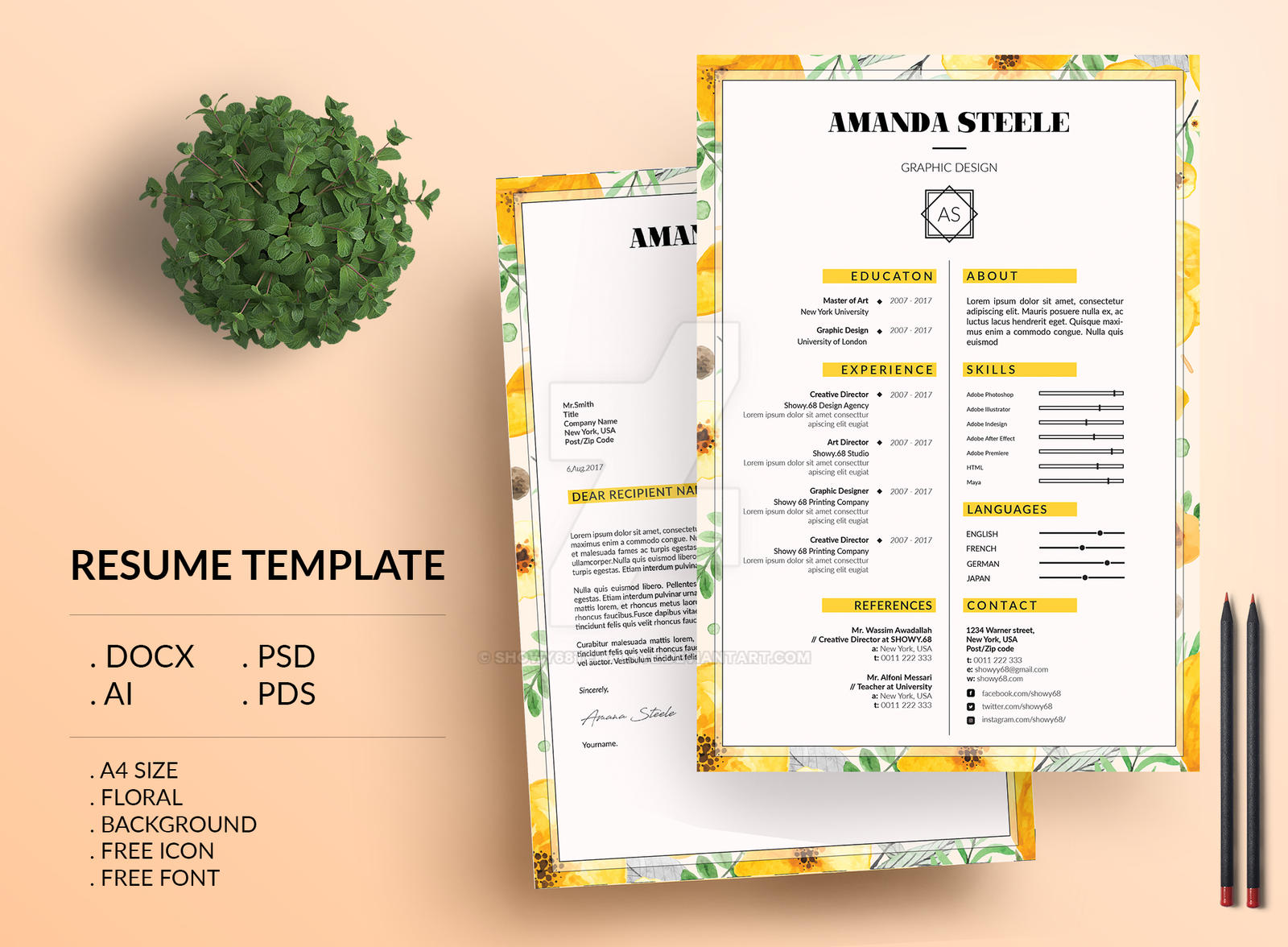 Floral Resume Template Cv Template Letterhead By Showy68template On Deviantart