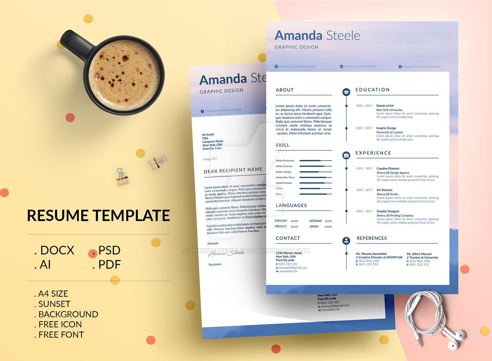 sunset resume template    cv template   letterhead by