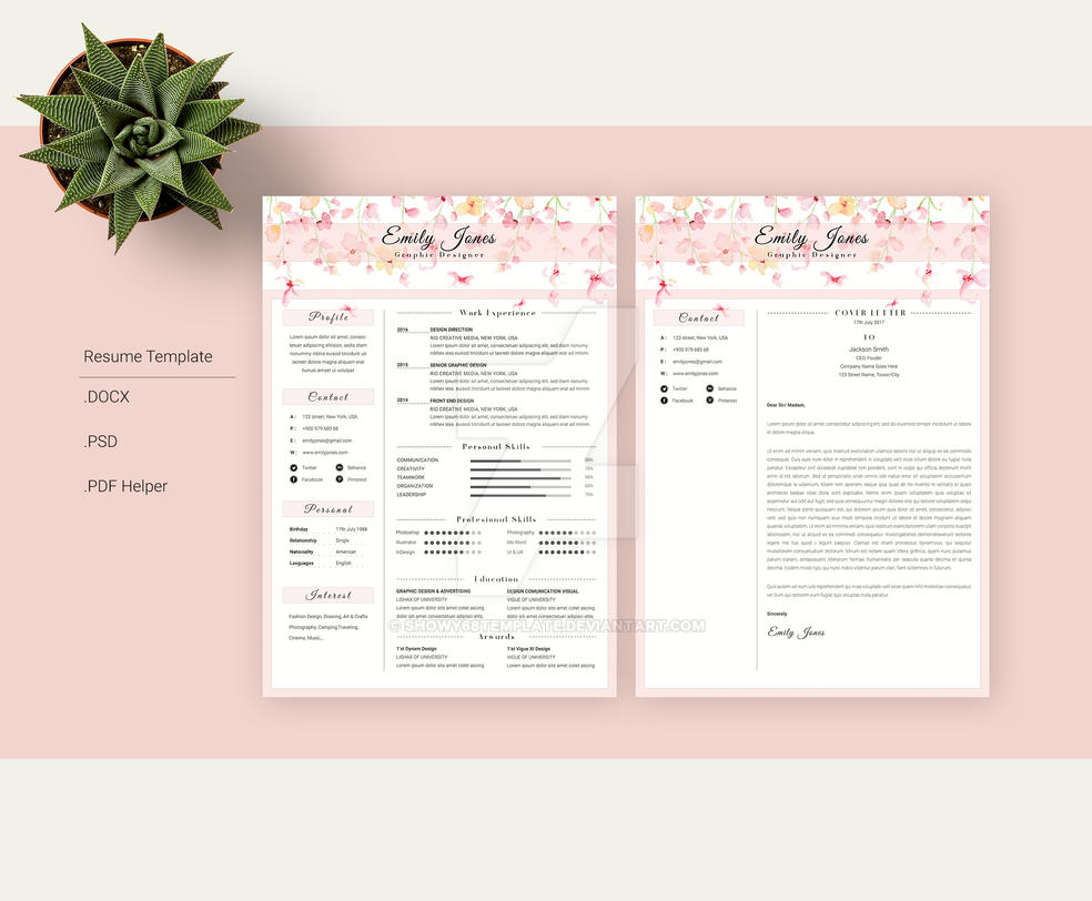 Resume Template Floral Water Color Simple By Showy68Template