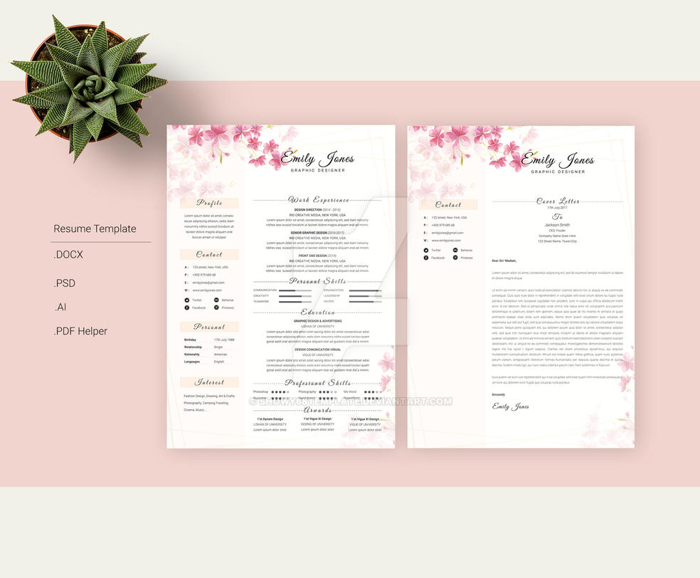 Resume Template Floral Water Color Simple by Showy68Template on ...