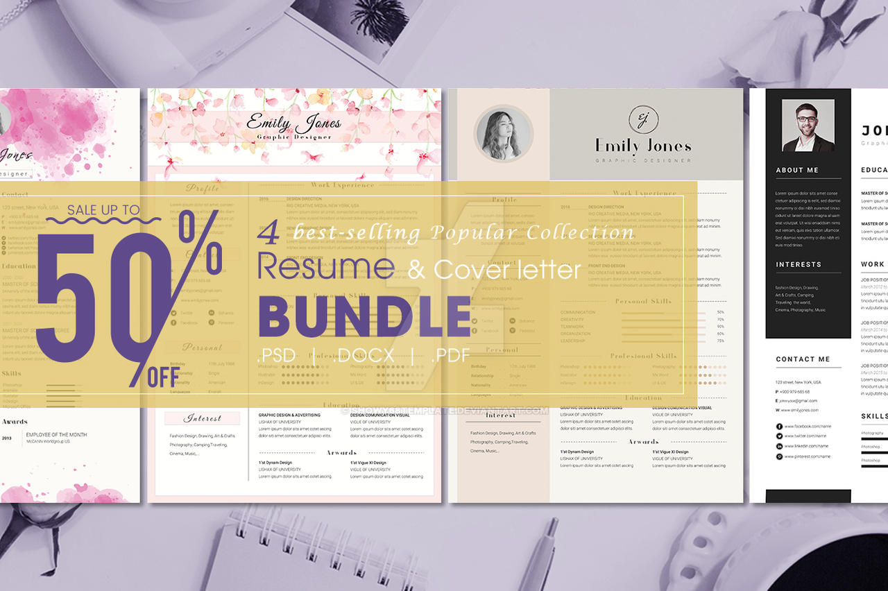 bundle resume template    cover letter template by