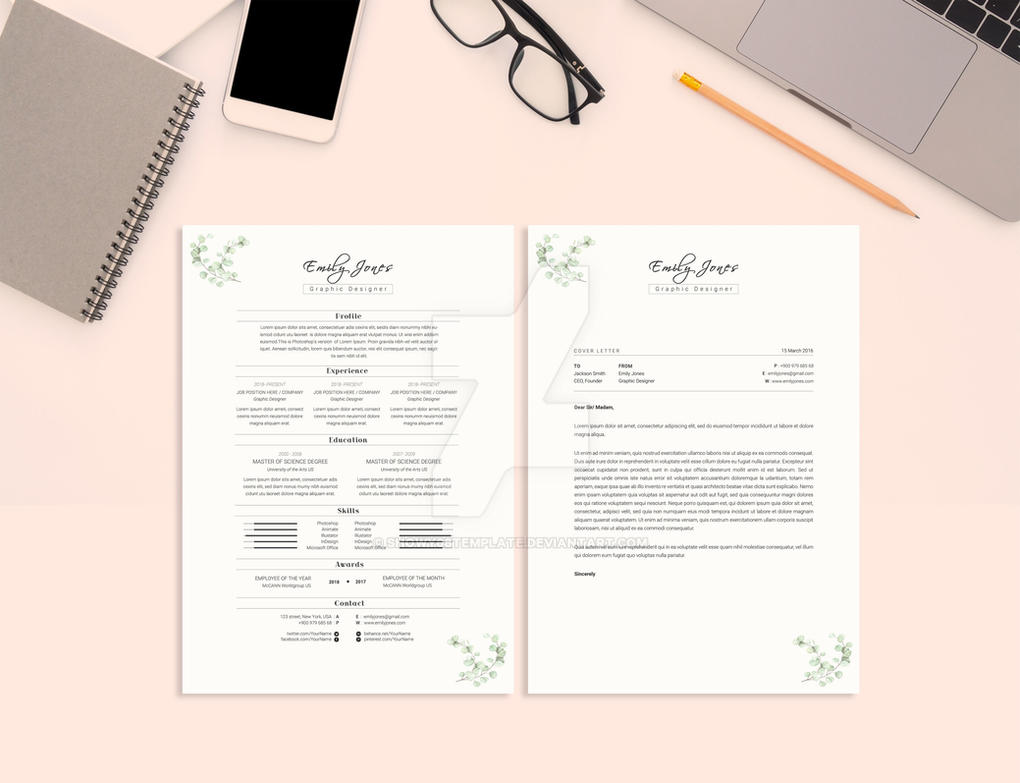 water color resume template  cover letter by
