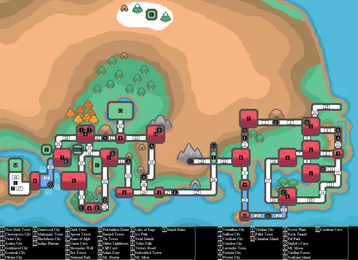 Labelled Kanto and Johto Map