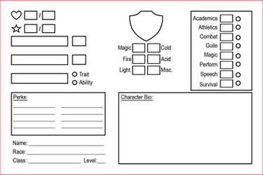 RPG character Card + Skills