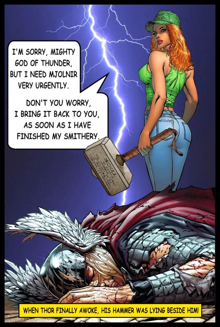 sylvia borrowed mjolnir from thor by sylviashadow on
