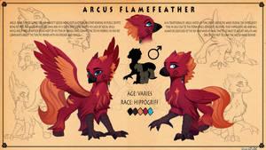 <b>Reference Sheet: Arcus Flamefeather</b><br><i>DiscordTheGE</i>