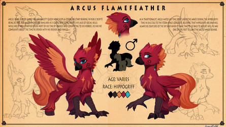 Reference sheet: Arcus Flamefeather by DiscordTheGE