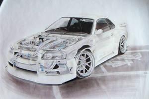 Nissan Skyline R34 (BNR34) Cutaway Sketch by xMadish