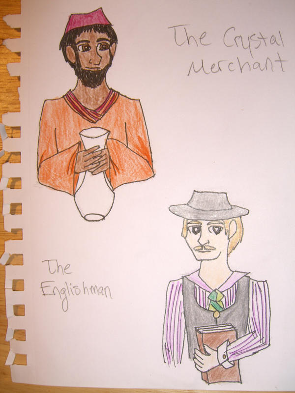 santiago and the crystal merchant After going to tarfia all of santiago's money was stolen but he managed to get a job with a crystal merchant in the story, the crystal merchant is afraid of change this shows how hesitant he was to make a display case for his crystal or by not wanting to expand his business into tea.