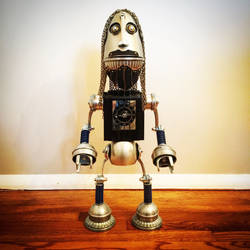 Found object robot sculpture by Brian Marshall