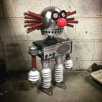 Found object robot assemblage evil clown