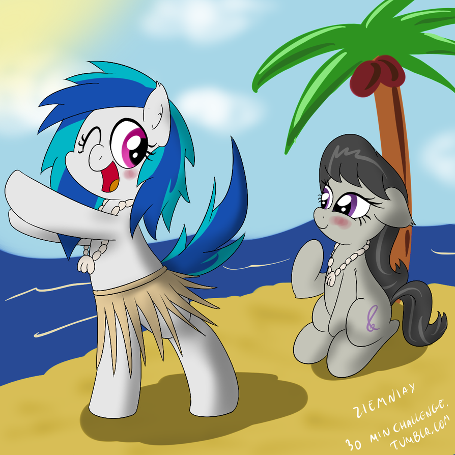 Tavi and Vinyl on the beach - 30 min art challenge by Ziemniax