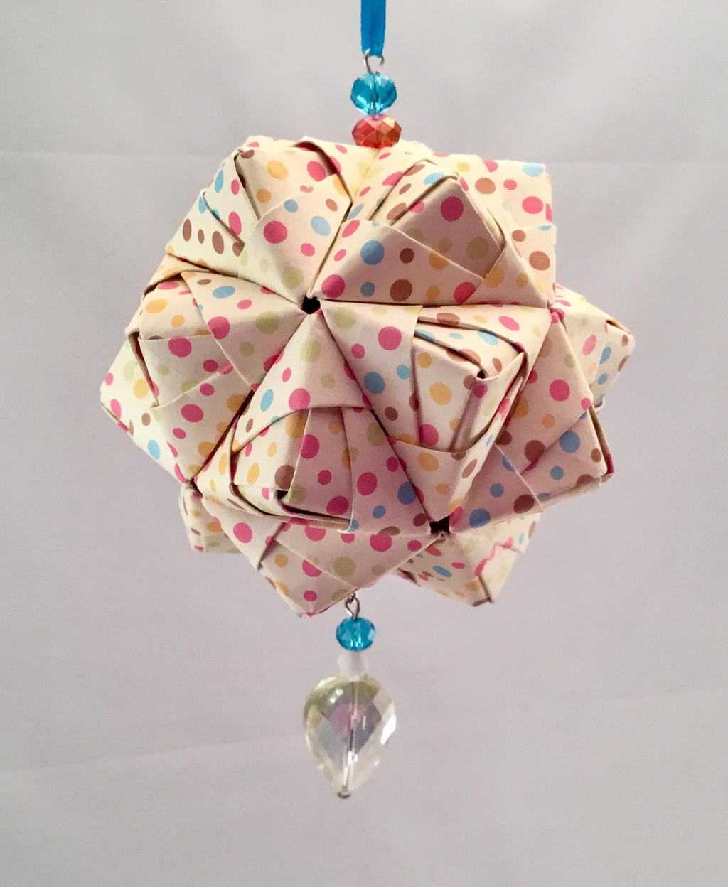 Polka dot christmas ornaments -  Colorful Polka Dot Origami Christmas Ornament By Dogeared2015