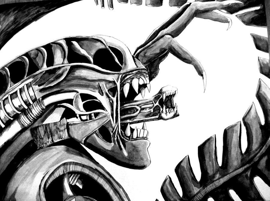 Alien Ink Drawing by Fire-Redhead