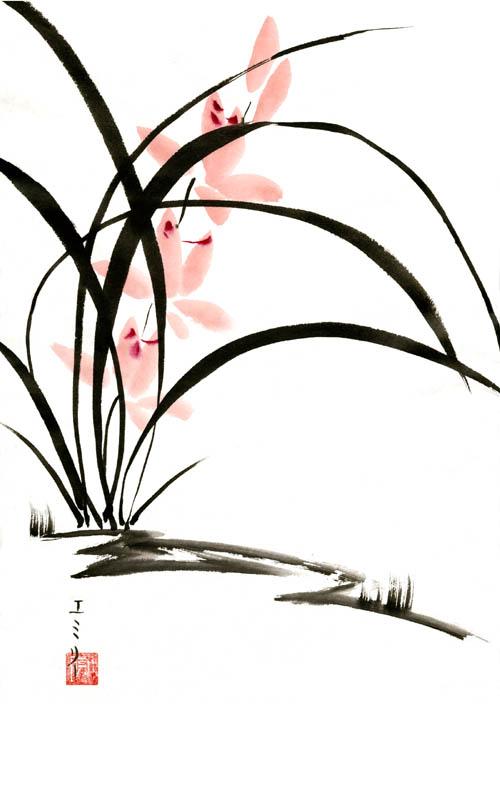 Sumi-e Orchids 1 by Lunael