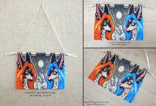 Bead pennant: Alice and Altera