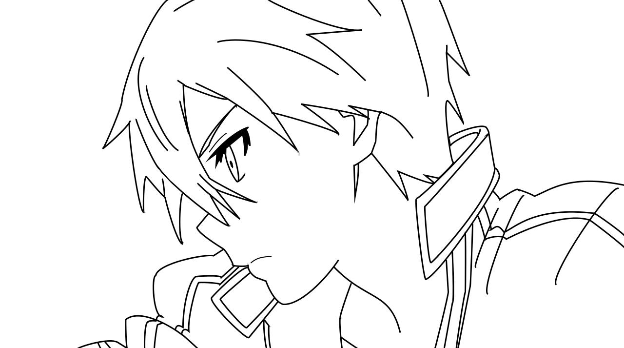 Kirito Lineart : Kirito lineart by al on deviantart