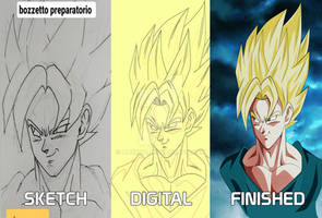 SON GOKU END OF Z - PROCESS FROM SKETCH TO DIGITAL