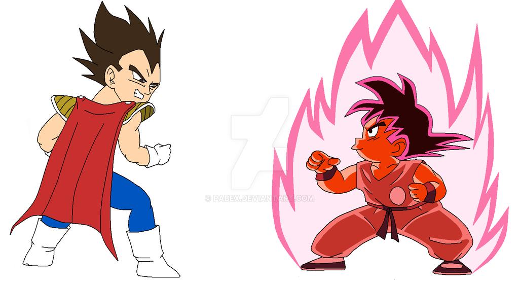 Kid Goku And Kid Vegeta Kid Goku Kaioken Vs Ki...