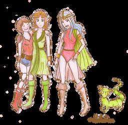 SaGa Playthrough: party concept sketches by CheerySoundNinRoren