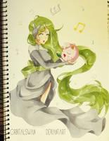 Meloetta and Jigglypuff by Orbitalswan