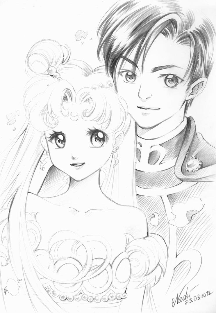 Sailor Moon: princess Serenity and prince Endymion by Naschi