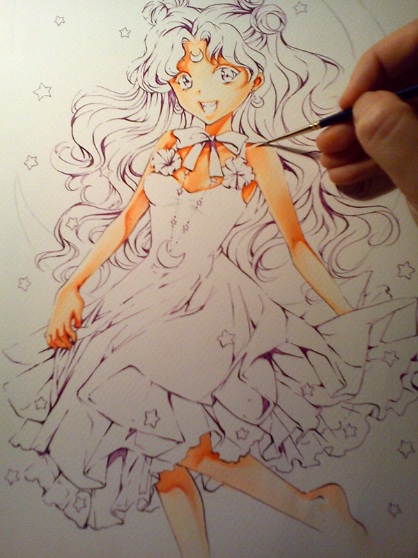 Sailor Moon: Luna the cat WIP by Naschi