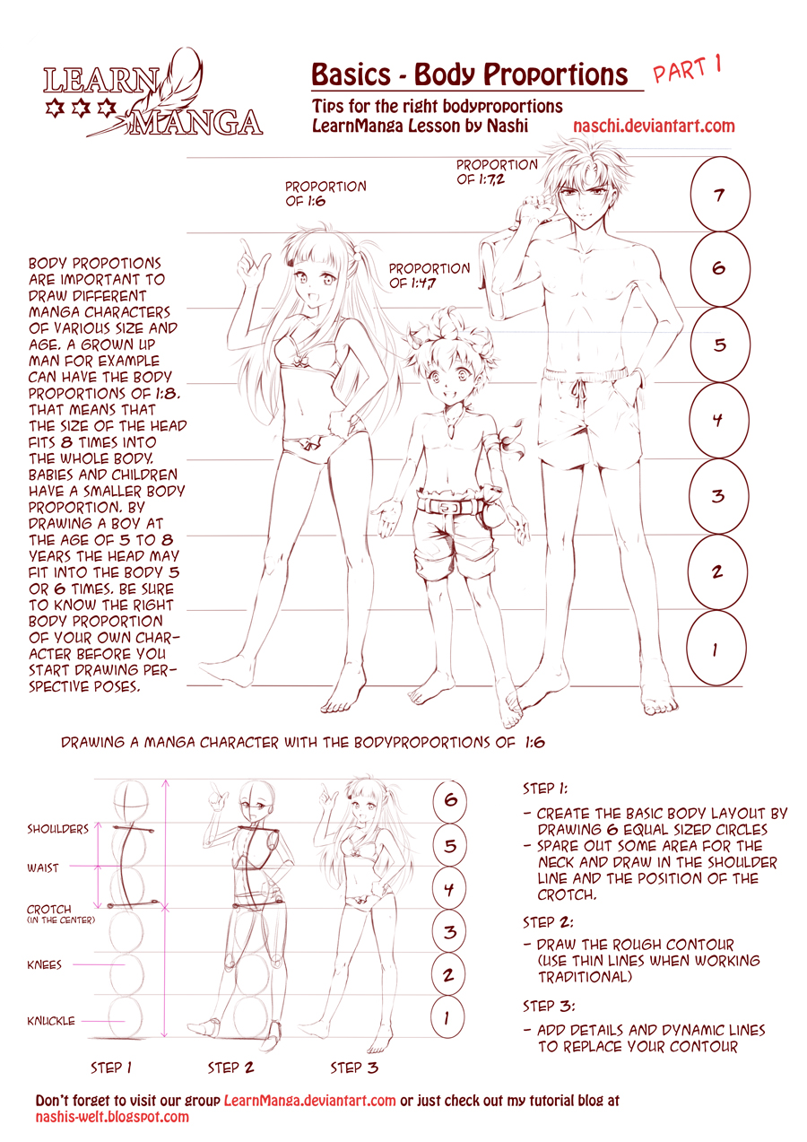 Learn manga body proportions by naschi
