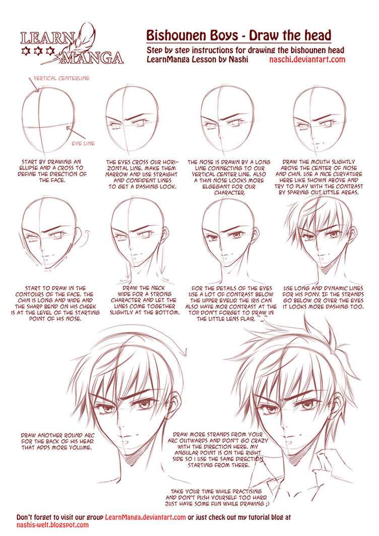 learn manga bishounen boys draw the head by naschi