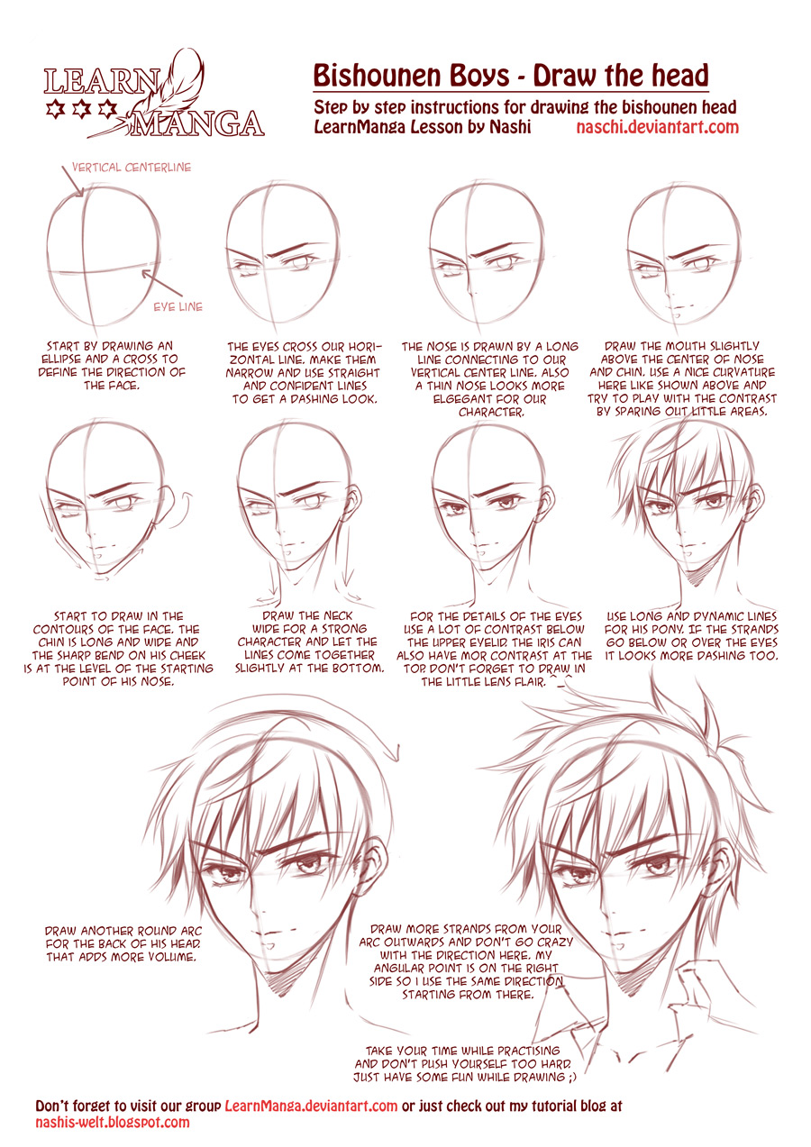 Learn Manga Bishounen Boys Draw The Head By Naschi On