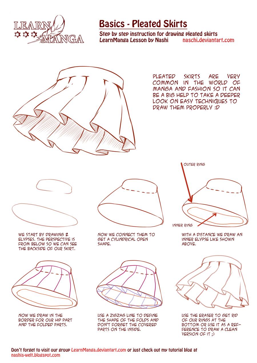 Learn Manga Basics Pleated Skirts by Naschi on DeviantArt