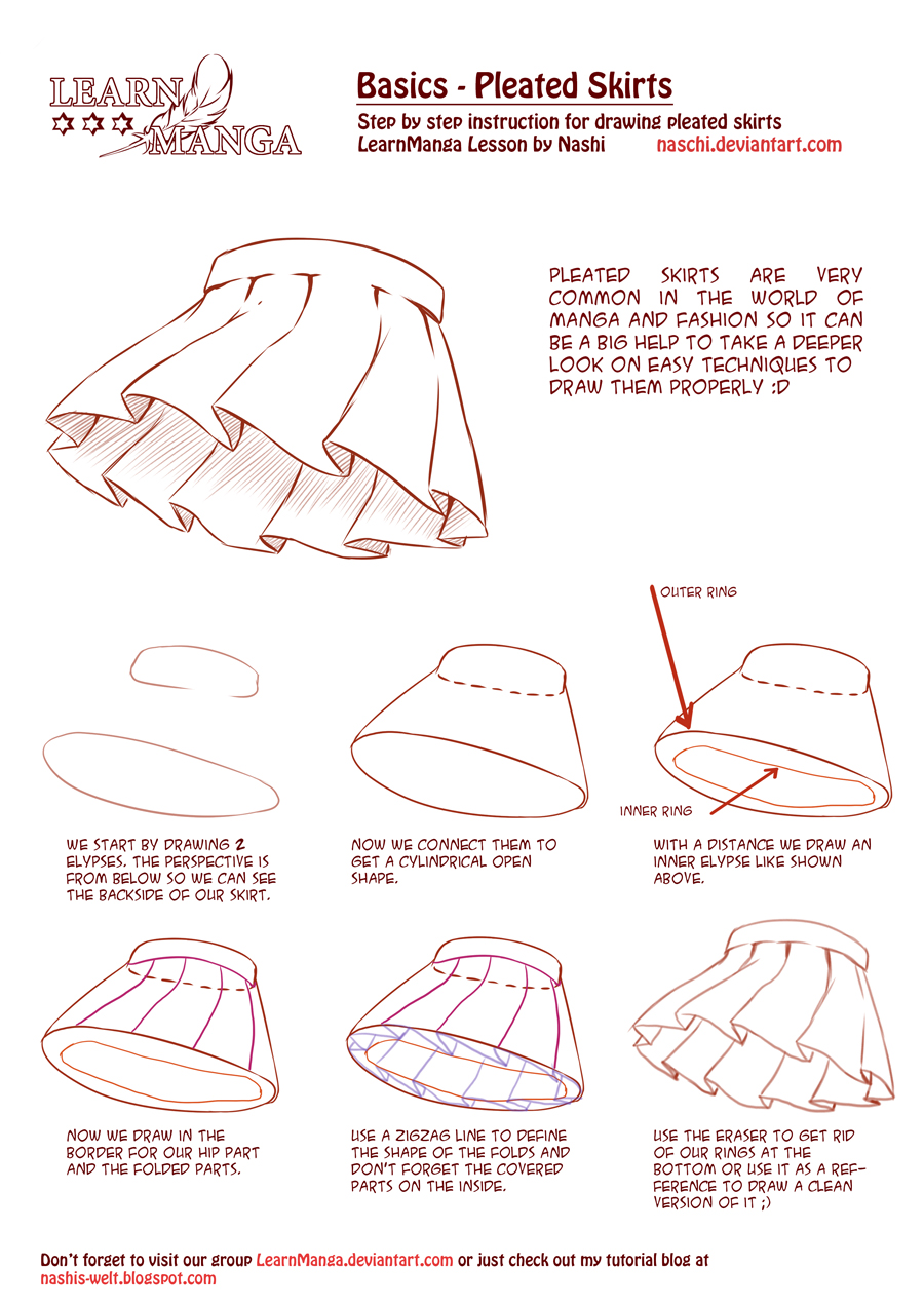 Learn Manga Basics: Pleated Skirts