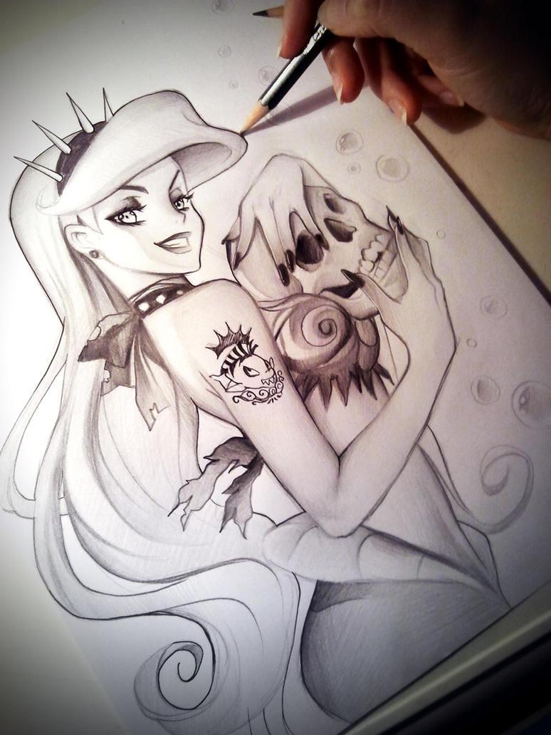 Evil Mermaid Drawings